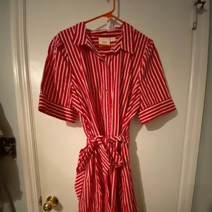 Red and white striped Anthropologie dress